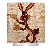 Bugs Banny Original Coffee Painting Shower Curtain