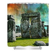 Building A Mystery - Stonehenge Art By Sharon Cummings Shower Curtain