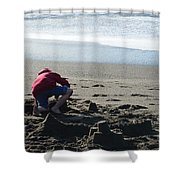 Building A Sand Castle  Shower Curtain