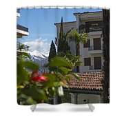 Building And Palm Trees Shower Curtain