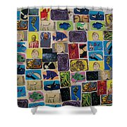 Building Collage Shower Curtain