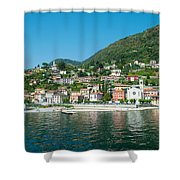 Building In A Town At The Waterfront Shower Curtain