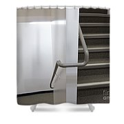 Building Interior White Staircase With Handrails Shower Curtain