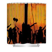 Building Silhouettes In Color Shower Curtain