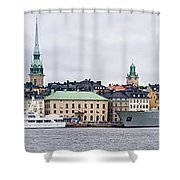 Buildings At The Waterfront, Gamla Shower Curtain