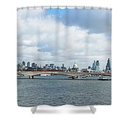 Buildings At The Waterfront, Thames Shower Curtain
