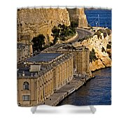 Buildings By The Mediterranean Sea Shower Curtain