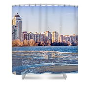 Buildings Close To The Frozen River Shower Curtain