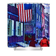 Buildings Flag Bright Red Coat Shower Curtain