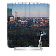 Buildings In A City, Boston Common Shower Curtain