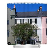 Buildings In A City, Rainbow Row Shower Curtain