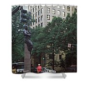 Buildings In A City, Trade And Tryon Shower Curtain