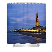 Buildings Lit Up At Dusk, Blackpool Shower Curtain