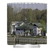 Buildings On The Shore Of Section Of Dal Lake In Srinagar Shower Curtain