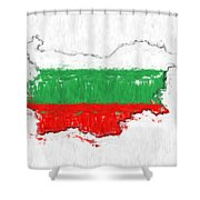 Bulgaria Painted Flag Map Shower Curtain