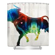 Bull Art - Love A Bull 2 - By Sharon Cummings Shower Curtain