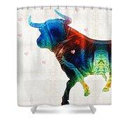 Bull Art - Love A Bull 2 - By Sharon Cummings Shower Curtain