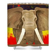 Bull Elephant Prime Colors Shower Curtain