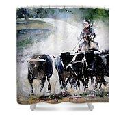 Bull Herd Shower Curtain