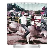 Bull Rider Digital Art  By Cathy Anderson Shower Curtain