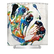 Bulldog Pop Art - How Bout A Kiss - By Sharon Cummings Shower Curtain