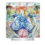 Bulldog - Watercolor Portrait Shower Curtain
