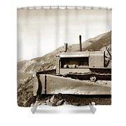 Bulldozer Working On Highway One Big Sur Circa 1930 Shower Curtain