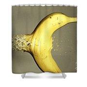 Bullet Piercing A Banana Shower Curtain