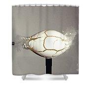 Bullet Piercing Egg Shower Curtain by Gary S. Settles