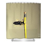 Bullet Piercing Pencil Shower Curtain by Gary S. Settles
