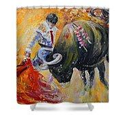 Bullfighting In Neon Light 02 Shower Curtain