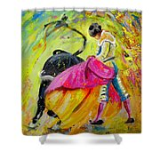Bullfighting In Neon Light 01 Shower Curtain