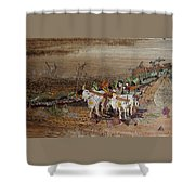 Bullock Cart On Cross Country Road  Shower Curtain
