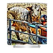 Bullrider And His Bull Shower Curtain