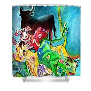 Bulls From Toledo Shower Curtain