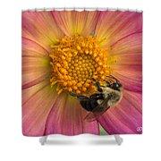 Bumble Bee Dahlia Shower Curtain