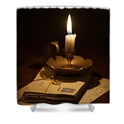 Bundle Of Letters By Candle Light Shower Curtain