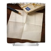 Bundle Of Vintage Letters With Fountain Pen Shower Curtain