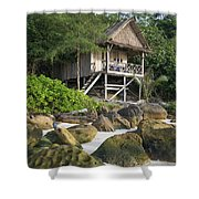 Bungalow In Koh Rong Island Beach In Cambodia Shower Curtain