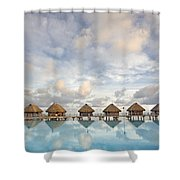 Bungalows Over Ocean II Shower Curtain