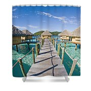 Bungalows Over Ocean Shower Curtain