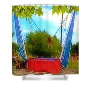 Bungee Trampoline Shower Curtain