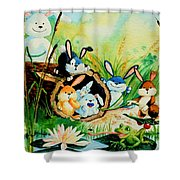 Bunnies Log And Frog Shower Curtain