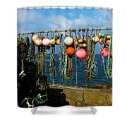Buoys And Pots In Sennen Cove Shower Curtain