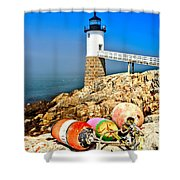 Buoys At The Headlight Shower Curtain