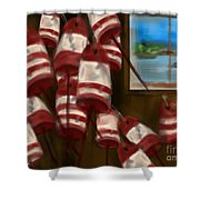 Buoys With A View      Shower Curtain
