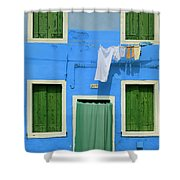 Burano Blue And Green Shower Curtain