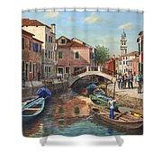 Burano Canal Venice Shower Curtain