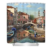 Burano Canal Venice Shower Curtain