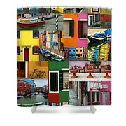 Burano Italy Collage Shower Curtain